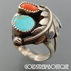 NATIVE AMERICAN VINTAGE NAVAJO STERLING SILVER TURQUOISE CORAL FEATHER SHADOWBOX RING - SIZE 6.25