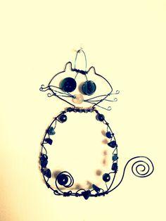 """Doots"" 2016  wire art kitty cat Mixed media wire beads buttons  Marna McManus  On Facebook @sunshowercreations Wire Art, Mixed Media, Kitty, Buttons, Facebook, Beads, Little Kitty, Beading, Kitten"
