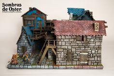 Mesa de juego, módulo de 35x35 cm y comparación de tamaño con miniaturas de escala 28mm.. http://sombrasdeoster.blogspot.com.es/