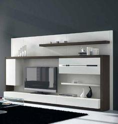 Moderno Mueble de Salón en blanco combinado con madera oscura