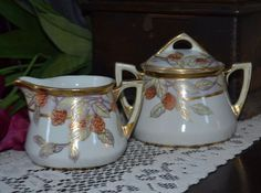 Vintage Nippon Porcelain Creamer and Covered Double Handled Sugar Bowl, EX!