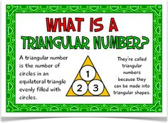 Triangular Numbers - Treetop Displays - 12 A4 posters that give a great understanding on triangular numbers. Includes: title poster, explanatory poster and 10 triangular number posters (1, 3, 6, 10, 15, 21, 28, 36, 45, 55) that show how triangular numbers are calculated. Visit our website for more information and for other printable resources by clicking on the provided links. Designed by teachers for Early Years (EYFS), Key Stage 1 (KS1) and Key Stage 2 (KS2).