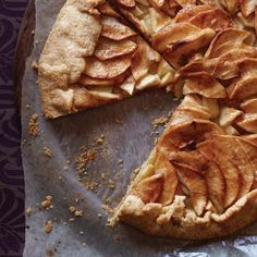 Country Apple Galette | Jacques Pépin loves to serve this delicate apple tart as a buffet dessert, since it's beautiful, easy to slice and simple to eat, pizza-style, while standing. The miraculously easy and versatile pastry dough comes together in a food processor in less than 20 seconds and can be filled with all sorts of fruits or vegetables. Because the tart is free-form, the pastry can be rolled into either a round or a rectangle. French Desserts, Apple Desserts, Apple Recipes, Just Desserts, Wine Recipes, Dessert Recipes, Cooking Recipes, French Food, Pear Dessert