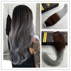 Ombre Dip Dyed Dark Brown to Silver Remy Seamless Tape In Human Hair Extensions #Ugea