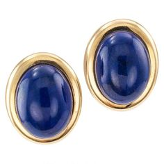1970s Lapis Lazuli Gold Button Ear Clips | From a unique collection of vintage clip-on earrings at https://www.1stdibs.com/jewelry/earrings/clip-on-earrings/