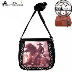 Montana West Horse Art Concealed Messenger Bag, Laurie Prindle Collection (MW154G-8360)
