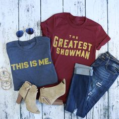 You'll be the greatest showman of all time in these amazing This is me tees! So cute worn with your favorite plaid button down and skinny jeans or dressed up with statement jewelry and booties.
