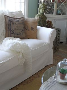 Shabby French Cottage: Ektorp Sofa from Ikea Cottage Style Living Room, Living Room Sofa, Living Room Furniture, Living Rooms, Cozy Living, Ektorp Sofa, White Couches, Home Furnishings, Decoration