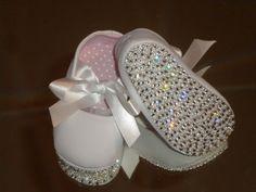 DiAMONDS and PEARLS Swarovski Crystal Rhinestone Baby Bling Shoes baptism/christening via Etsy