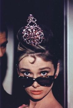 fabulous audrey hepburn. pink tiara. sunglasses.