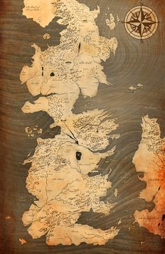 Game of Thrones Vintage Style Westeros Map Song of by NLopezArt