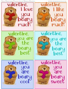 Free Valentine colorful teddy bear printables (with five different sayings).