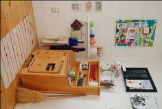 play kitchen corner - love the potholder rack!