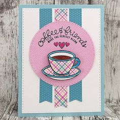A card using @simonsaysstamp Card Kit for February, a must-have for coffee and tea lovers! #sssck #simonsaysstamp #paperpiecing