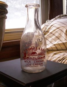 Land O Lakes Oconomowoc Wisconsin Pyro Milk Bottle Graphic! Oconomowoc Wisconsin, Old Milk Bottles, Lakes, Butter, Canning, Antiques, Kitchen, Ebay, Antiquities