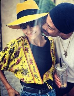 LOVING the yellow, the hat, the jacket. The outfit. Celebrity Twitter Pics | Celebrity Fashion Trends | ELLE UK