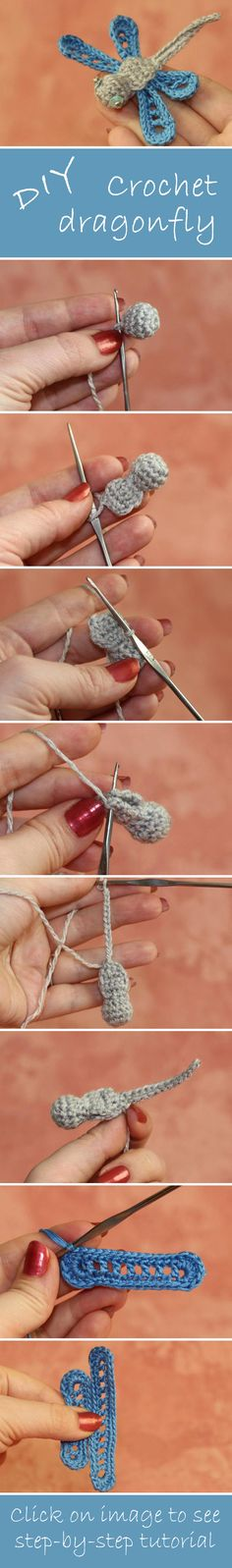 How to make crochet dragonfly. Click on image to see step-by-step tutorial