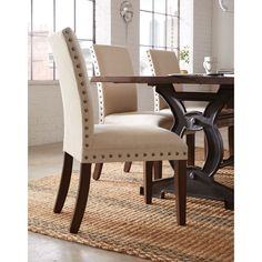 Elliya Fabric White Nailheads Parsons Chairs (Set Of 2)   Colors, Chairs  And The Ou0027jays