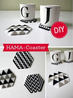 perler bead coasters (also called hama beads, or melty beads) Hama Coaster, Hama Beads Coasters, Diy Perler Beads, Diy Coasters, Perler Bead Art, Pearler Beads, Fuse Beads, Modern Coasters, Perler Bead Designs