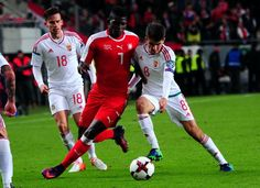 Switzerland's Breel Embolo (L) vies with Hungary's Adam Nagy (R) during a WC 2018 football qualification match Hungary v Switzerland in Budapest on October 7, 2016. / AFP / ATTILA KISBENEDEK October 7, Fifa World Cup, Hungary, Budapest, Switzerland, Sports, People, Attila, Hs Sports