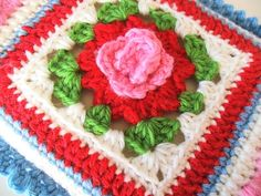 """""""Kindle"""" Crochet Cradle, the pattern for the Granny Rose is on the right side of her blog under tutorials.."""