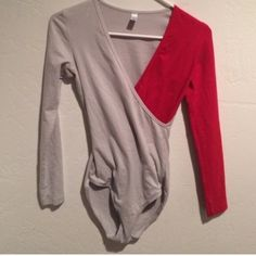 AA leotard Long sleeve leotard, red and gray American Apparel Tops Tees - Long Sleeve