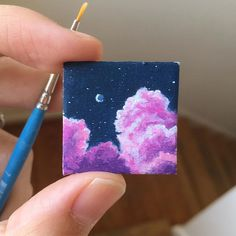 I'm thinking about painting a big version of this little baby! I'm super in love with the contrast of a dark dark sky with big vibrant… Small Canvas Paintings, Easy Canvas Art, Small Canvas Art, Cute Paintings, Mini Canvas Art, Acrylic Art, Acrylic Painting Canvas, Diy Painting, Mini Toile