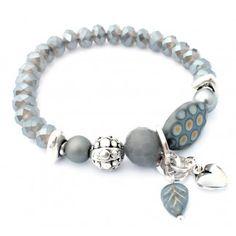 Mooie elastische armband met luxe grijze kristalkralen