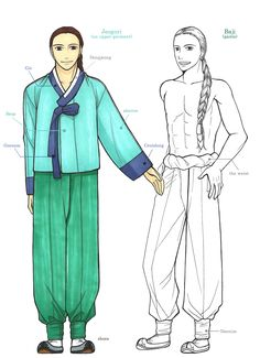 The Basic Composition Of Hanbok by Glimja on deviantARTHanbok is Korean traditional clothes, especially from 1392~1910  This is the basic composition of man Hanbok