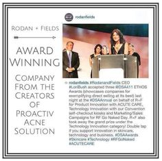 Incredible and Exciting News!!! Our CEO, Lori Bush, accepted THREE DSA ETHOS Awards showcasing Rodan + Fields for 'direct selling at its best' ~ PLUS the GRAND PRIZE in Technology Innovation! The accolades just keep rolling in!!! So proud to be a part of it all!!! #TheSkincareGoddess
