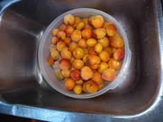Wash your fruit thoroughly in the sink with water and about 1/2 cup of vinegar just to be sure you're getting all the bacteria off and to remove pesticides in case your apricots were grown conventionally.