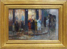 Peintre belge nous montrant la sortie du bal place de la madeleine à Bruxelles.