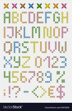Colorful cross stitch uppercase english alphabet with numbers and symbols. Colorful cross stitch uppercase english alphabet with numbers and symbols. Cross Stitch Numbers, Cross Stitch Letters, Cross Stitch Bookmarks, Cross Stitch Cards, Cross Stitch Borders, Cross Stitch Baby, Cross Stitch Designs, Cross Stitching, Cross Stitch Embroidery