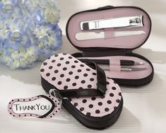 """Pink Polka Flip Flop"" Five Piece Pedicure Set with ""Thank you"" Tag: $4.75 #Wedding #BridalShower"