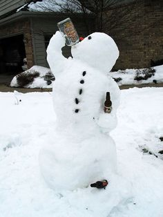 Best thing about being a snowman? Drinks always stay cold :)