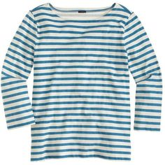 J.Crew Striped Boatneck T-Shirt ($52) ❤ liked on Polyvore featuring tops, t-shirts, shirts, tops/outerwear, white cotton shirt, striped t shirt, cotton shirts, white t shirt and loose fit t shirts