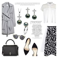 """""""Black Cross"""" by purepearls ❤ liked on Polyvore featuring MANGO, Calvin Klein, Nine West, Carven and Illesteva"""