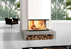 two sided ventless fireplace – What to Expect In 3 Sided Fireplace … Inset Fireplace, 3 Sided Fireplace, Fireplace Fronts, Home Fireplace, Fireplace Mantels, Fireplace Glass, Contemporary Fireplace Designs, Modern Fireplaces, Cladding Design