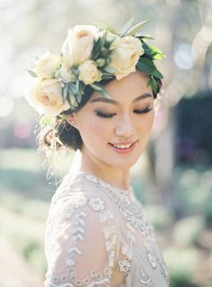 The prettiest white rose floral crown: Photography : Jen Huang Photography Read More on SMP: http://www.stylemepretty.com/california-weddings/2016/03/14/golden-light-elopement-at-san-ysidro-ranch/