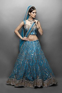 Beige-Gold Net Lehenga with Turquoise Applique- Front