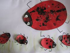 Ladybugs with finger prints for Eric Carle book