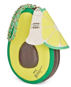 "Holy guacamole! This photo-worthy wristlet from Betsey Johnson gets all the attention in a fun avocado shape with coordinating zipper pulls. | Faux leather | Imported | 6""L wrist strap 