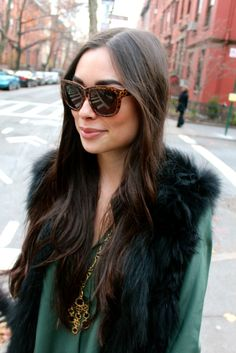 FAUX Fur Vest Over Green Blouse - LOVING!!!