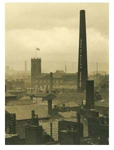 Black and white photograph taken from roof of Whiteheads department store in View of rooftops and Bark St Mills chimney, Bolton. Old Images, Old Pictures, Bolton Lancashire, Southern Cone, Old Time Photos, Elephant And Castle, Industrial Architecture, History Images, Industrial Photography
