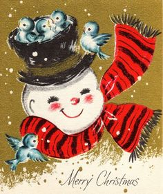 vintage Christmas card snowman & birds