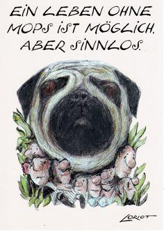 Ein Leben ohne Mops ist möglich -Loriot Humor -Postkarte