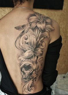 36 lily and skull tattoo for girl