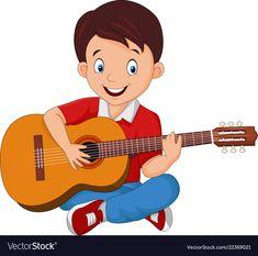 Vector illustration of Cartoon boy playing guitar