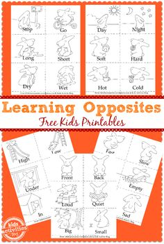 {3 in 1} Free Kids Printables. These free kids printables can be used as coloring sheets, a matching game, or a little book of opposites