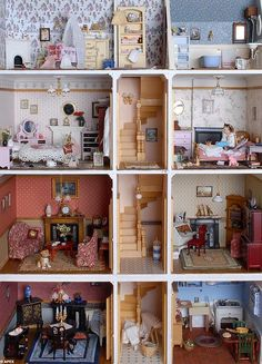 DIY doll house by using a shoebox - There are different methods of making doll houses using different material. The easiest is to make a DIY doll house by using shoebox. These doll house. Victorian Dolls, Victorian Dollhouse, Dollhouse Dolls, Antique Dolls, Vintage Dolls, Dollhouse Miniatures, Modern Dollhouse, Victorian House, Vintage Paper